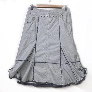 Cotton Midi Skirt with Grey and Blue Stripes